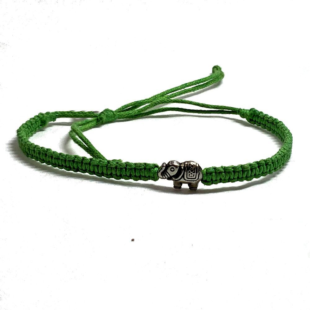 Green Woven Bracelet with Elephant