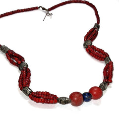 Vintage Red Bead Necklace with Silver Charms