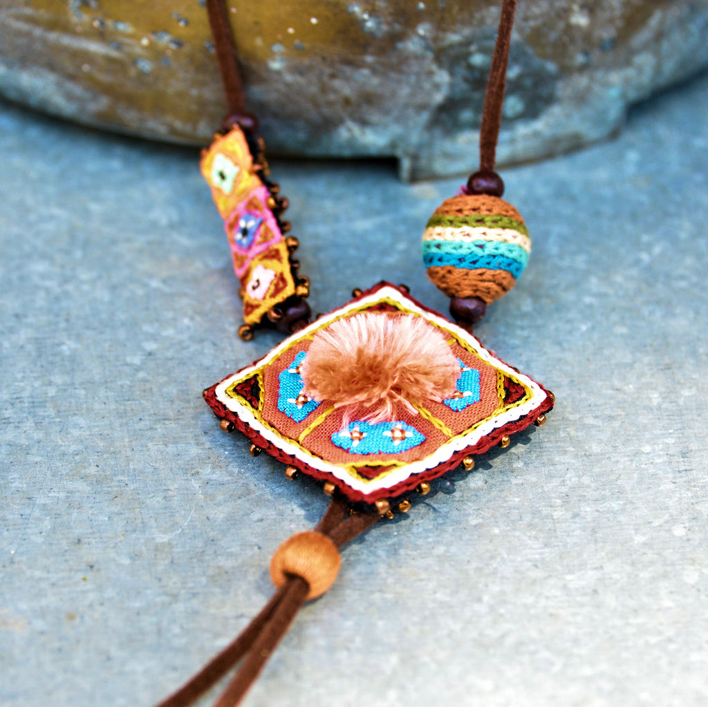 Hmong Embroidered Necklace