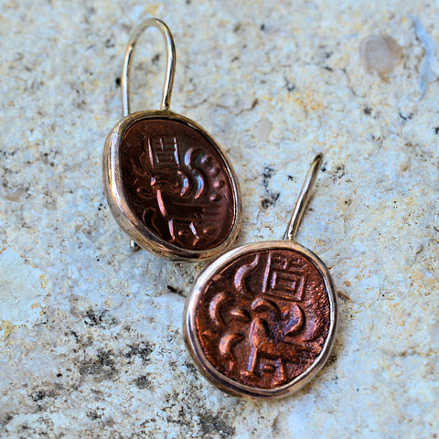 Cambodian Hamsa Bird Coin French Hook Earrings