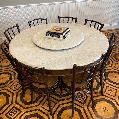 Antique Marble Table with Lazy Susan Top from Thailand