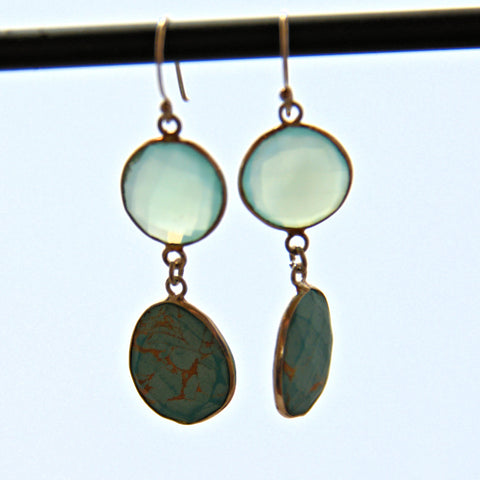 Chalcedony and Turquoise French Hook Earrings