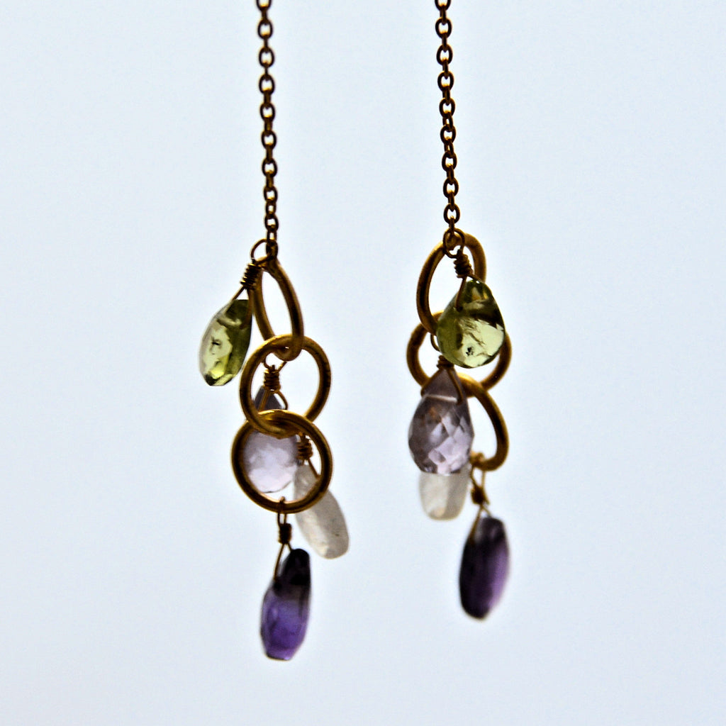 Mixed Gemstone Gold Plate Dangling French Hook Earrings