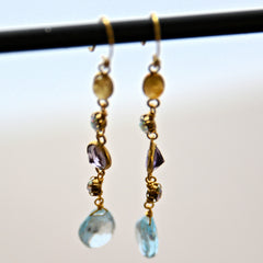 Topaz and Amethyst Gemstone Gold Plate Dangling French Hook Earrings