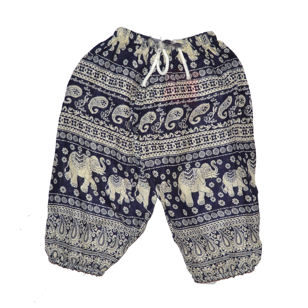 Childrens Elephant Print Pants - Navy