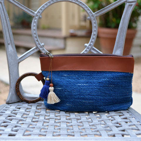 Cotton Indigo Burlap Wrist Ring Clutch Bag