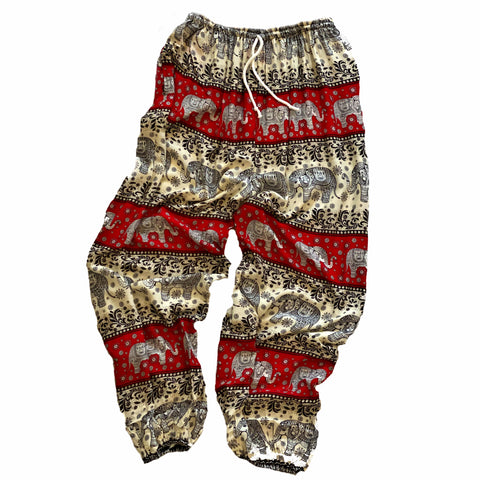 Elephant Print Lounge Pants - Red, White and Black