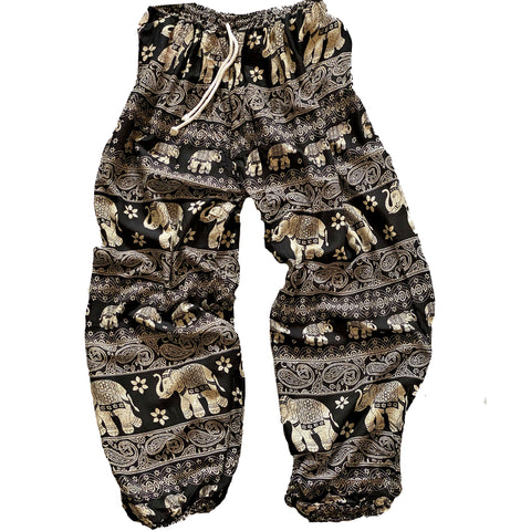 Elephant Print Lounge Pants - Black and White