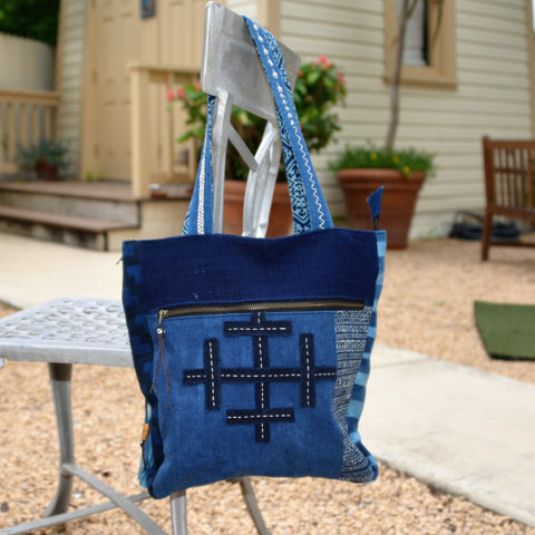 Cotton Indigo Bag with Batik and Embroidery