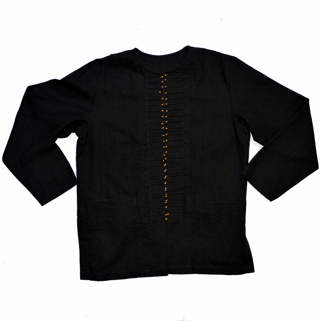 Black Hemp Long Jacket with Silver Buttons