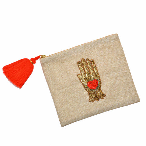 Hand-Beaded Hand Pouch/Clutch - Gold Hand with Heart