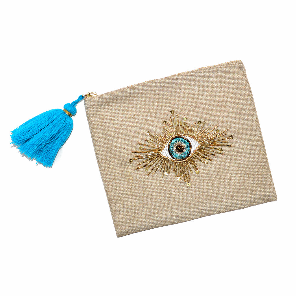 Hand-Beaded Hand Pouch/Clutch - Eye with Rays