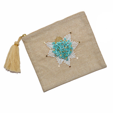 Hand-Beaded Hand Pouch/Clutch - 3-D Mint Heart