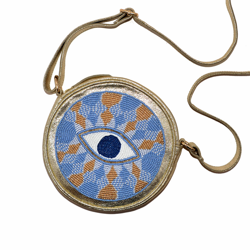 Hand-Beaded Round Eye Sling Bag - Blue