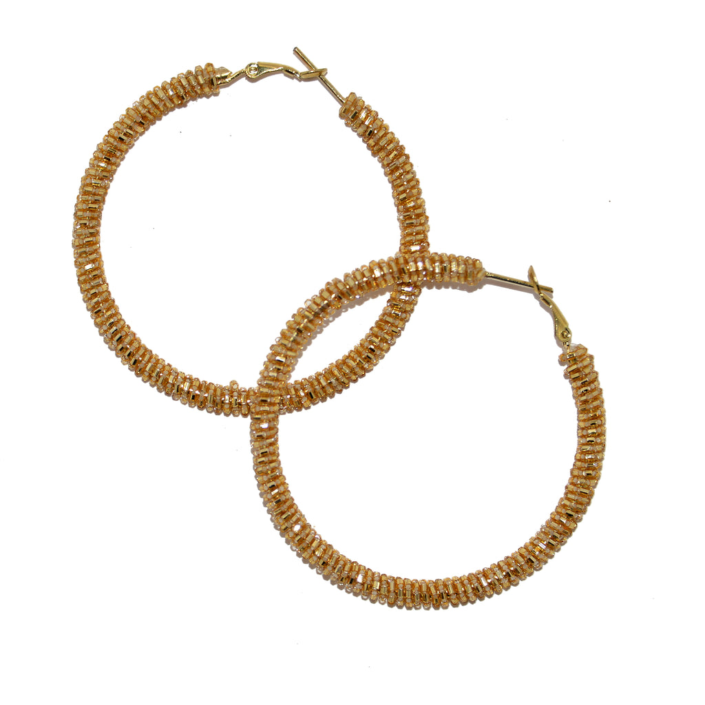 Hand-Beaded Hoop Earrings - Gold