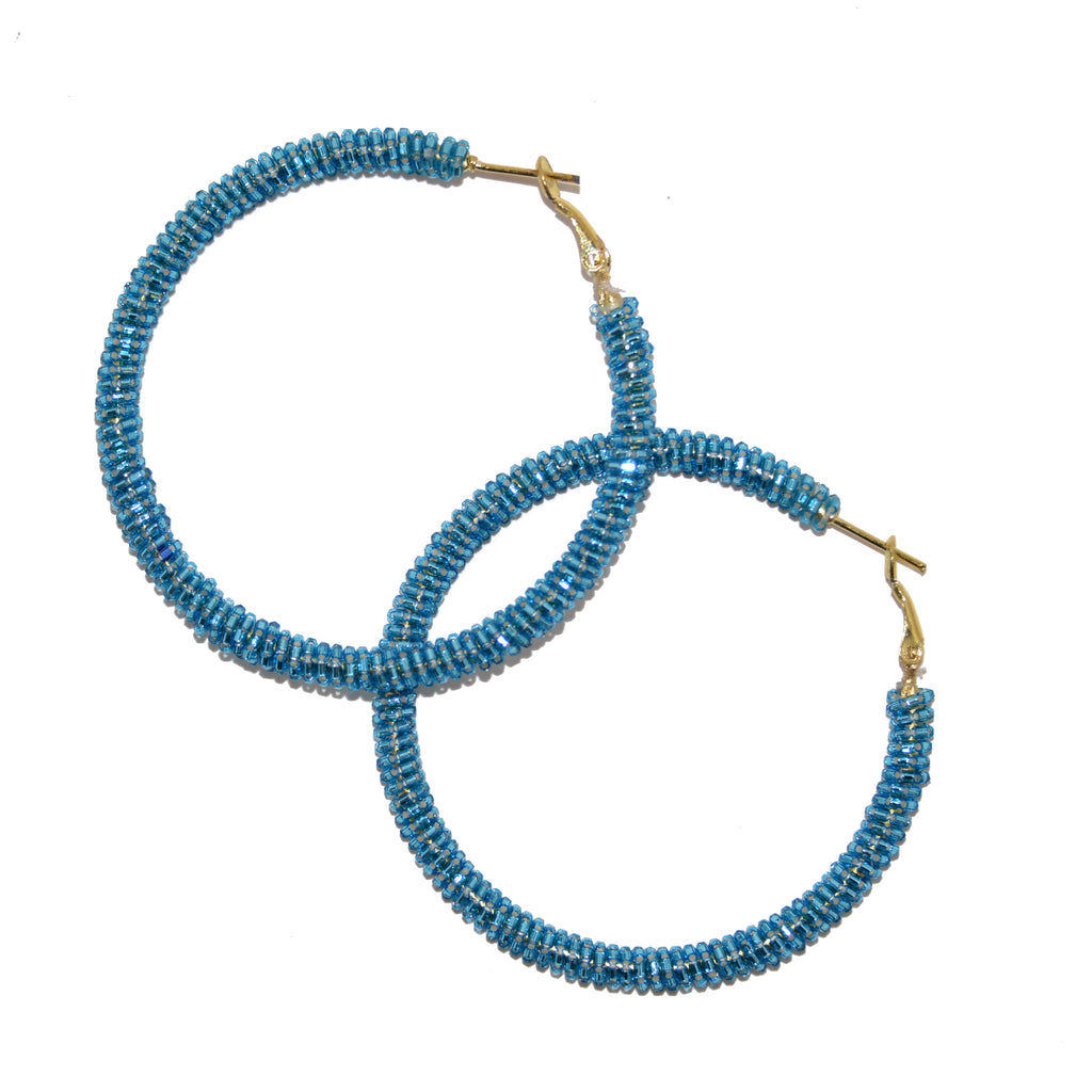 Hand-Beaded Hoop Earrings - Turquoise