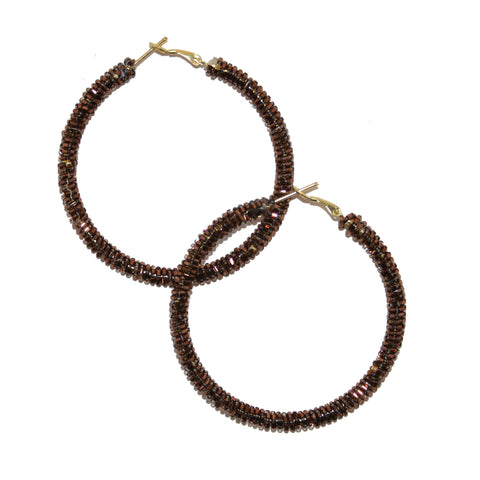 Hand-Beaded Hoop Earrings - Bronze