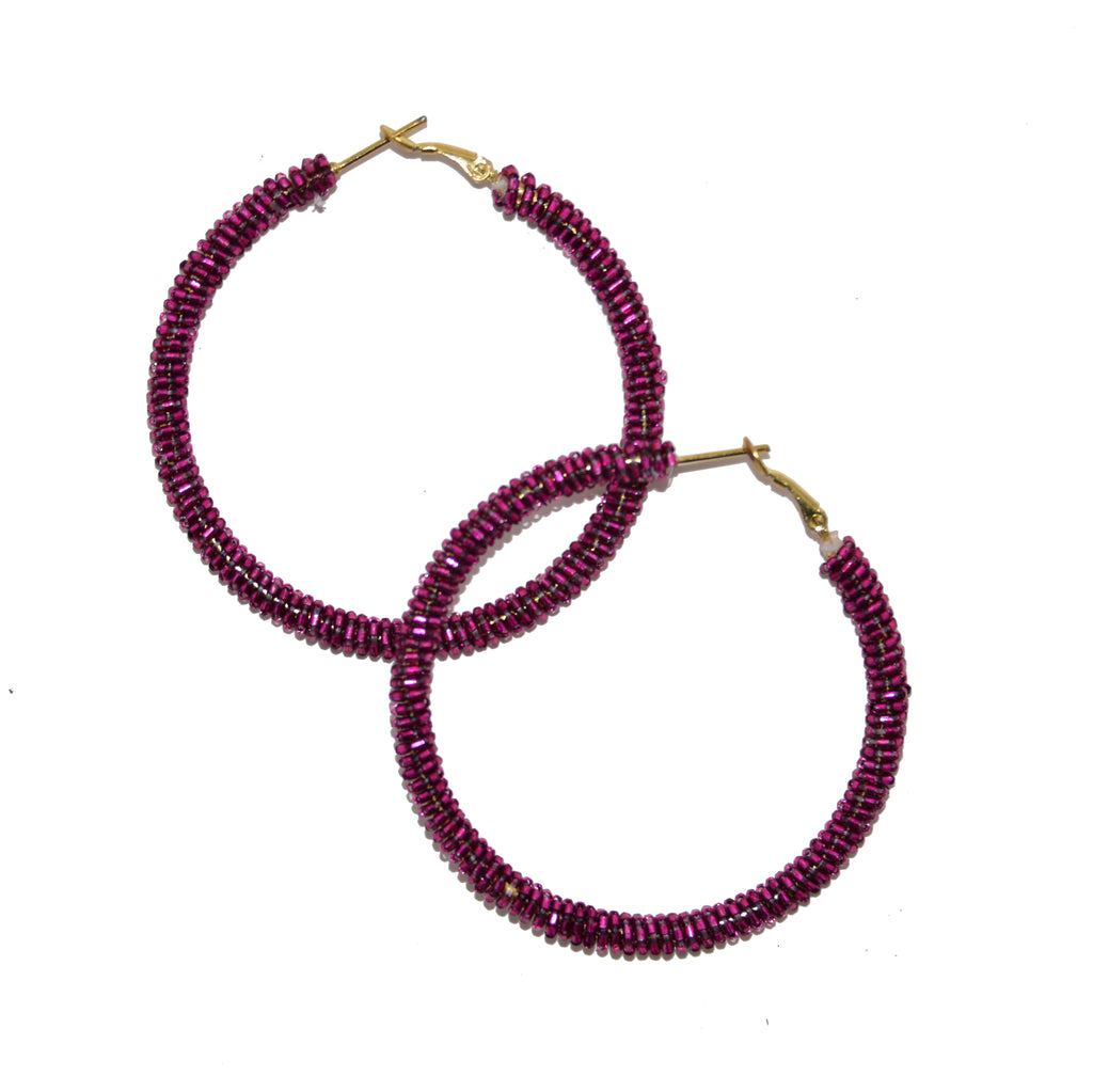 Hand-Beaded Hoop Earrings - Wine