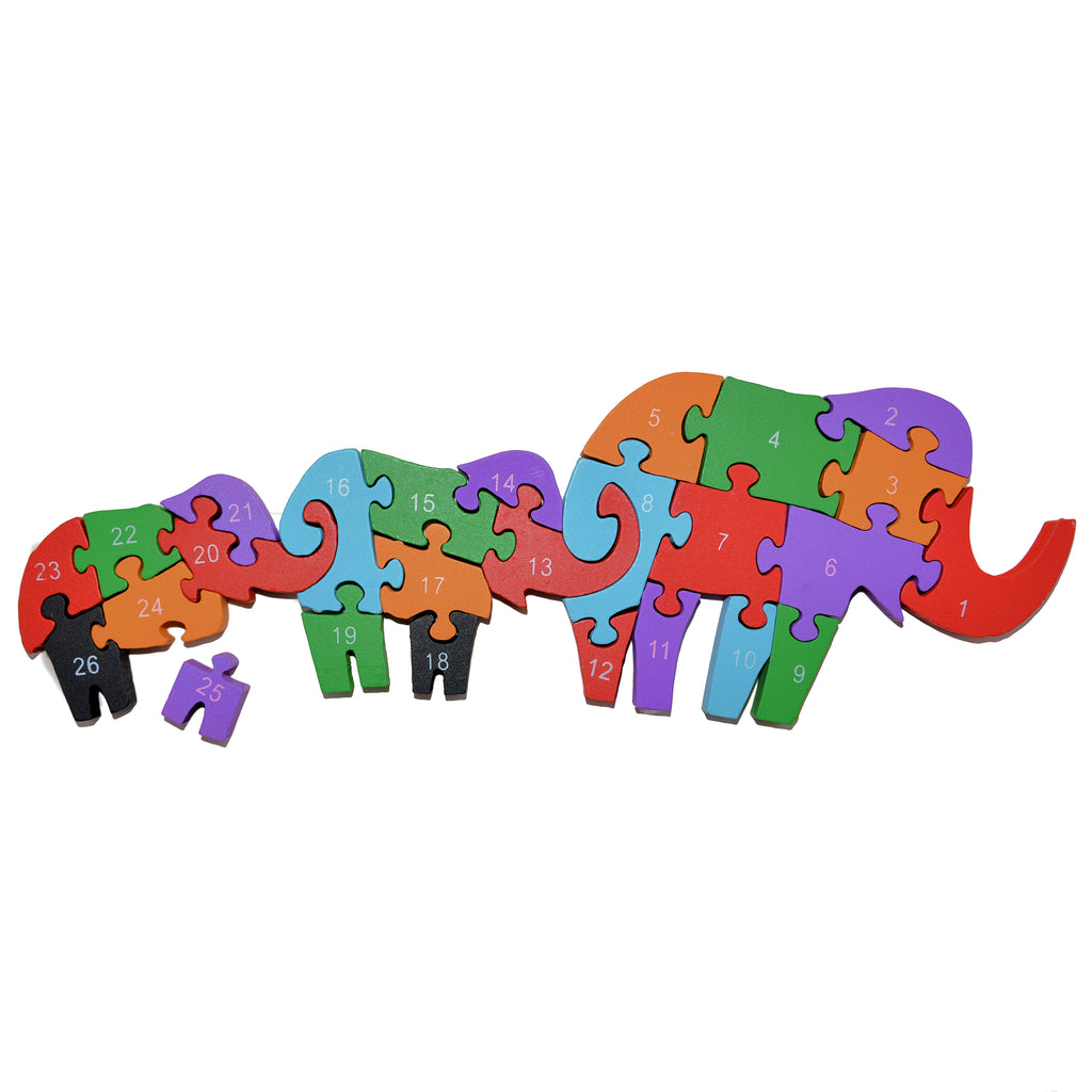 Wooden Elephant Family Puzzle Jigsaw Numbers  & Alphabet Educational Toy