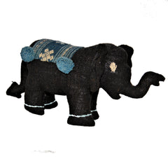 Large Black and Blue Stuffed Elephant