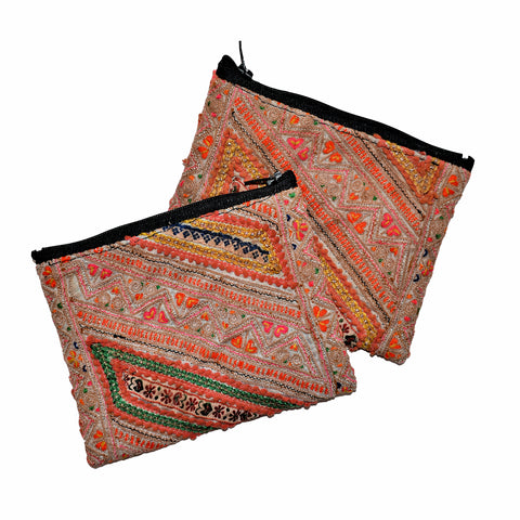 Assorted Hmong Fabric Cosmetic Bags with Metallic Details