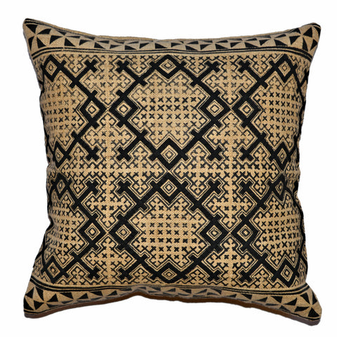 Black & Tan Pillow with Diamond Motif