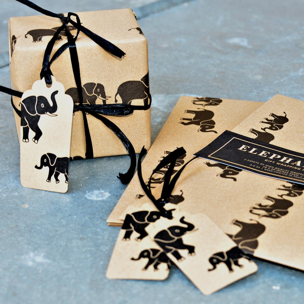 Elephant Print Gift Wrapping Paper and Gift Tags