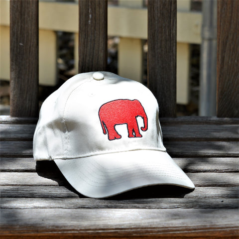 Youth Red Elephant Canvas Hat (Taupe)
