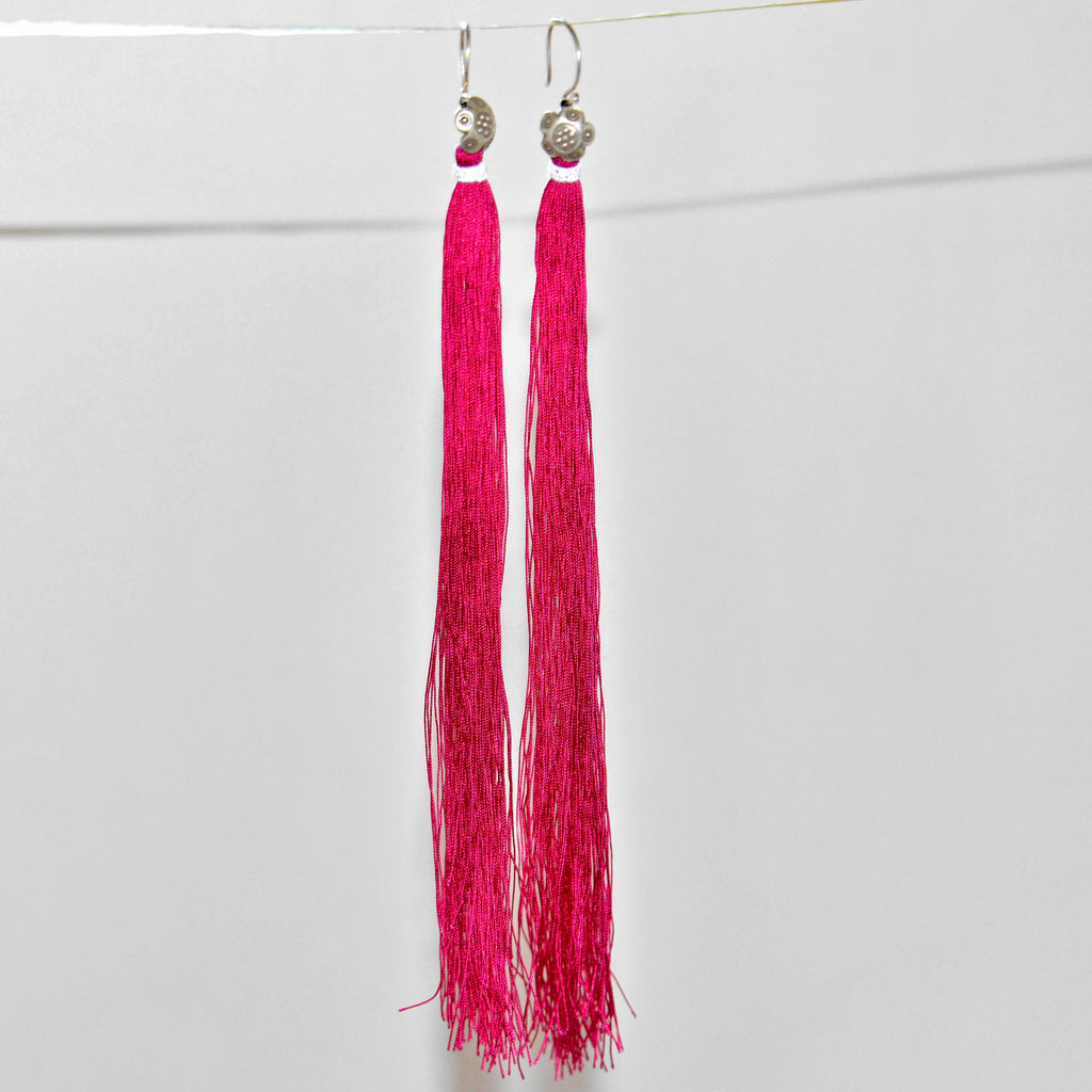 Tassel Earrings with Silver Accents