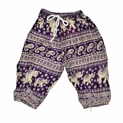 Childrens Elephant Print Pants - Purple