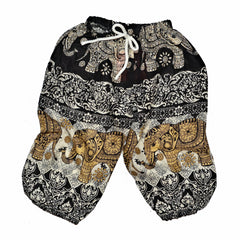 Youth Elephant Print Pants - Black & Cream