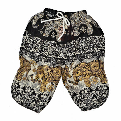 Childrens Elephant Print Pants - Black & Cream