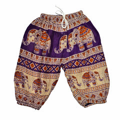 Childrens Elephant Print Pants - Purple & Cream