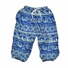 Childrens Elephant Print Pants - Blue & White