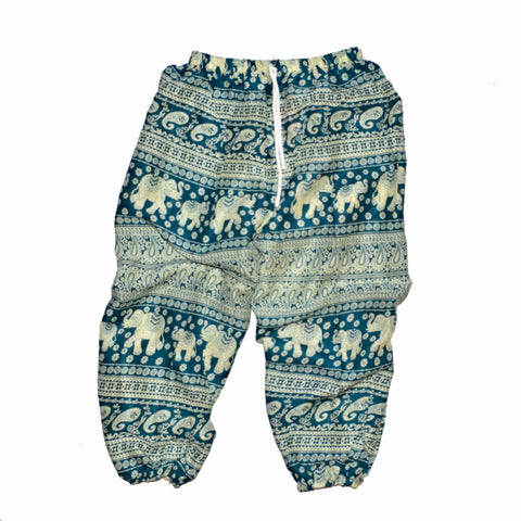 Youth Elephant Print Pants - Teal