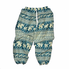 Children's Elephant Print Pants - Teal