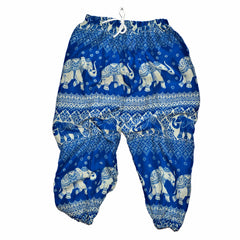 Elephant Print Pants - Royal Blue
