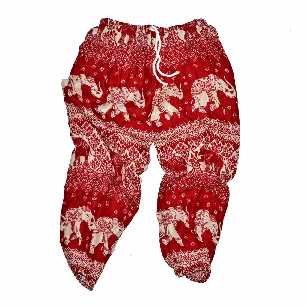 Youth Elephant Print Pants - Red