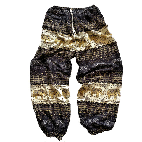 Elephant Print Lounge Pants - Black, White and Tan