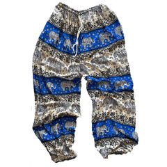 Elephant Print Lounge Pants - Royal Blue, Black and White