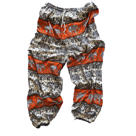 Elephant Print Lounge Pants - Orange, Black and White