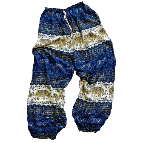 Elephant Print Lounge Pants - Blue, White and Tan