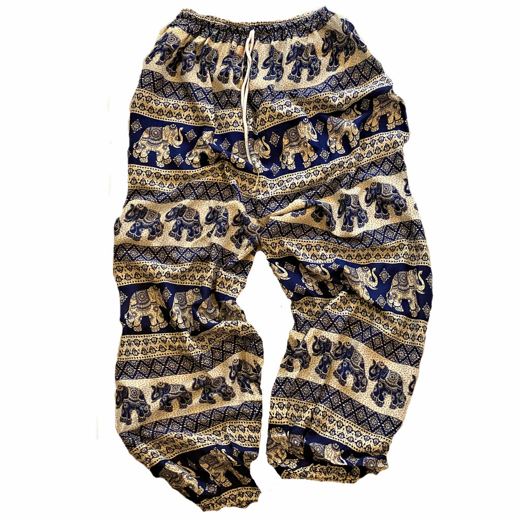 Elephant Print Lounge Pants - Dark Blue, White and Gold