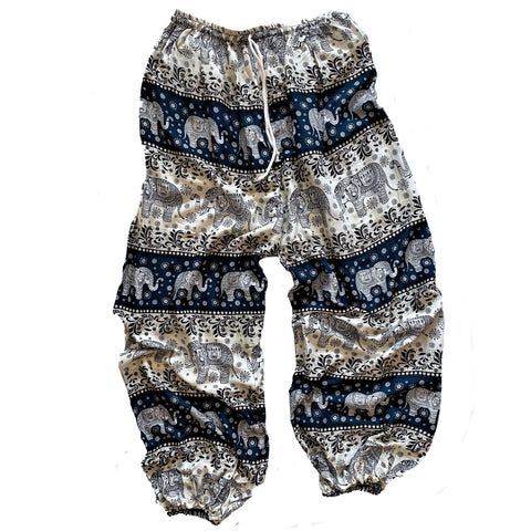 Elephant Print Lounge Pants - Green, Gold and White
