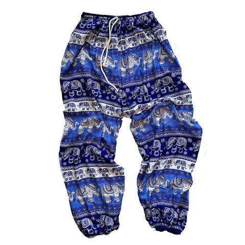 Elephant Print Lounge Pants - Light Blue, Royal Blue and White