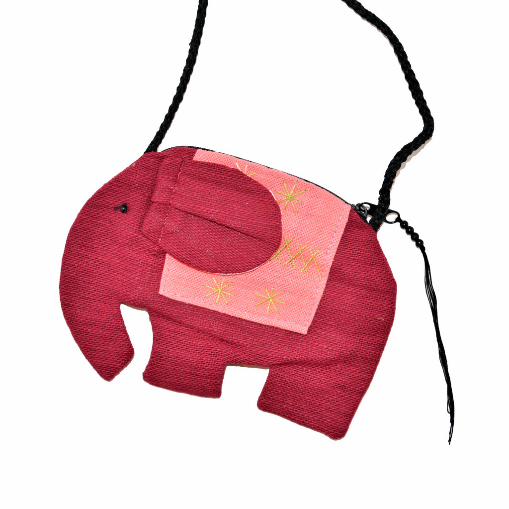 Elephant Shaped Mini Sling Bag (Burgundy & Peach)