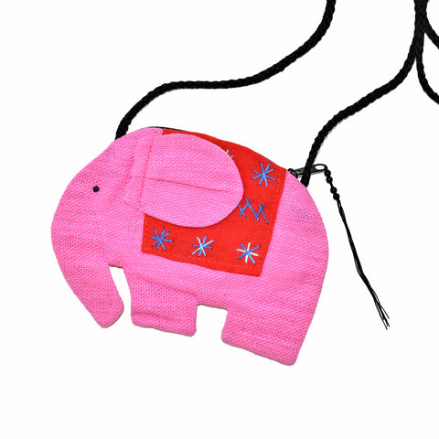 Elephant Shaped Mini Sling Bag (Pink & Red)