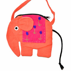 Elephant Shaped Mini Sling Bag - Large (Peach & Plum)