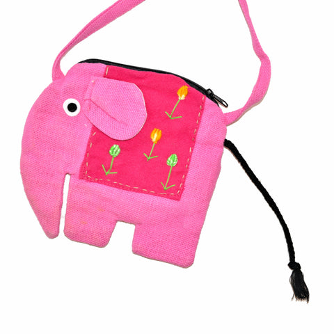 Elephant Shaped Mini Sling Bag - Large (Pink & Plum)
