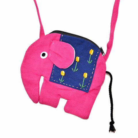 Elephant Shaped Mini Sling Bag - Large (Plum & Dark Blue)